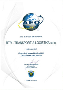 RTR - TRANSPORT A LOGISTIKA AEO