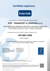 Certifikát Intertek RTR - TRANSPORT A LOGISTIKA